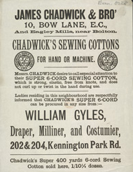 Advert For James Chadwick & Brothers, Cotton Manufacturers